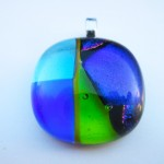 patchwork blue and green pendant