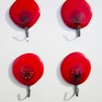 tea towel holders with poppy design