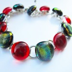 bracelet with dichroic and glass cabochons