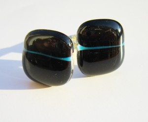 black cufflinks with blue line