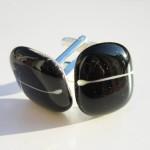 black cufflinks with white line